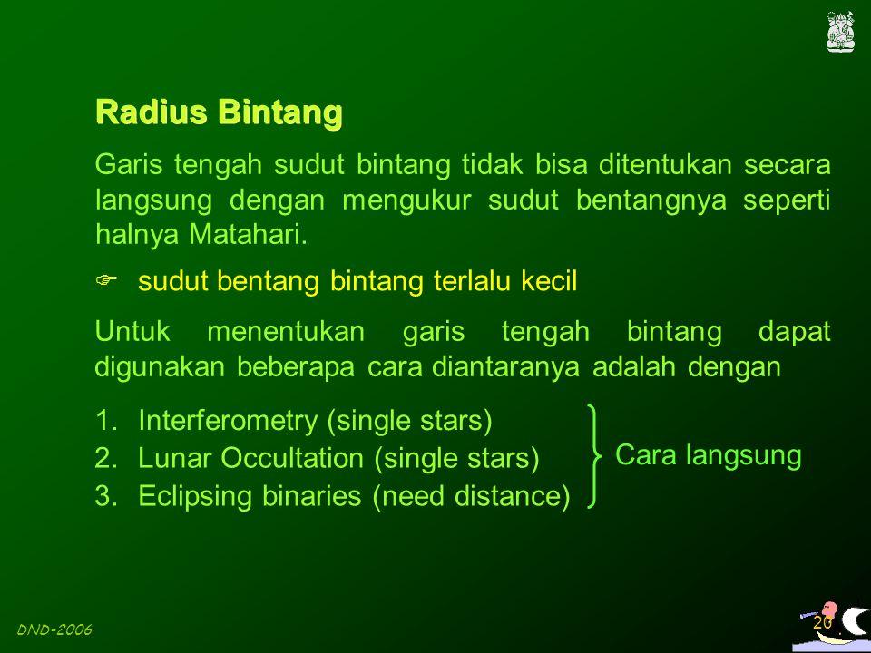Radius Bintang Garis tengah sudut bintang tidak bisa ditentukan secara langsung dengan mengukur sudut bentangnya seperti halnya Matahari.