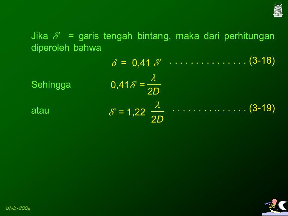 Jika ' = garis tengah bintang, maka dari perhitungan diperoleh bahwa