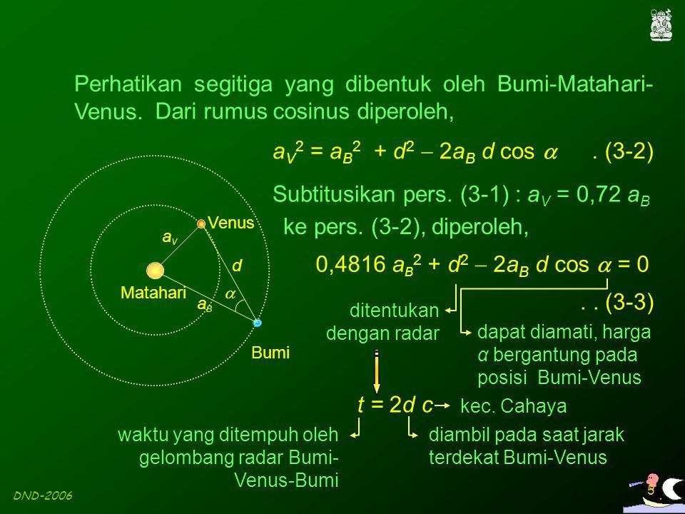 Perhatikan segitiga yang dibentuk oleh Bumi-Matahari-Venus.