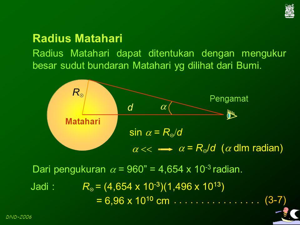 Radius Matahari Radius Matahari dapat ditentukan dengan mengukur besar sudut bundaran Matahari yg dilihat dari Bumi.