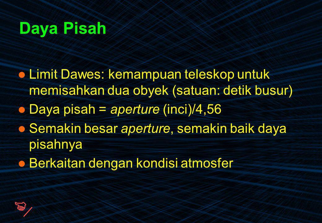 Daya Pisah Limit Dawes: kemampuan teleskop untuk memisahkan dua obyek (satuan: detik busur) Daya pisah = aperture (inci)/4,56.