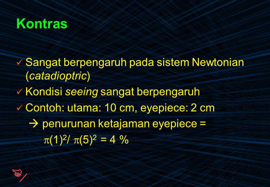  Kontras Sangat berpengaruh pada sistem Newtonian (catadioptric)
