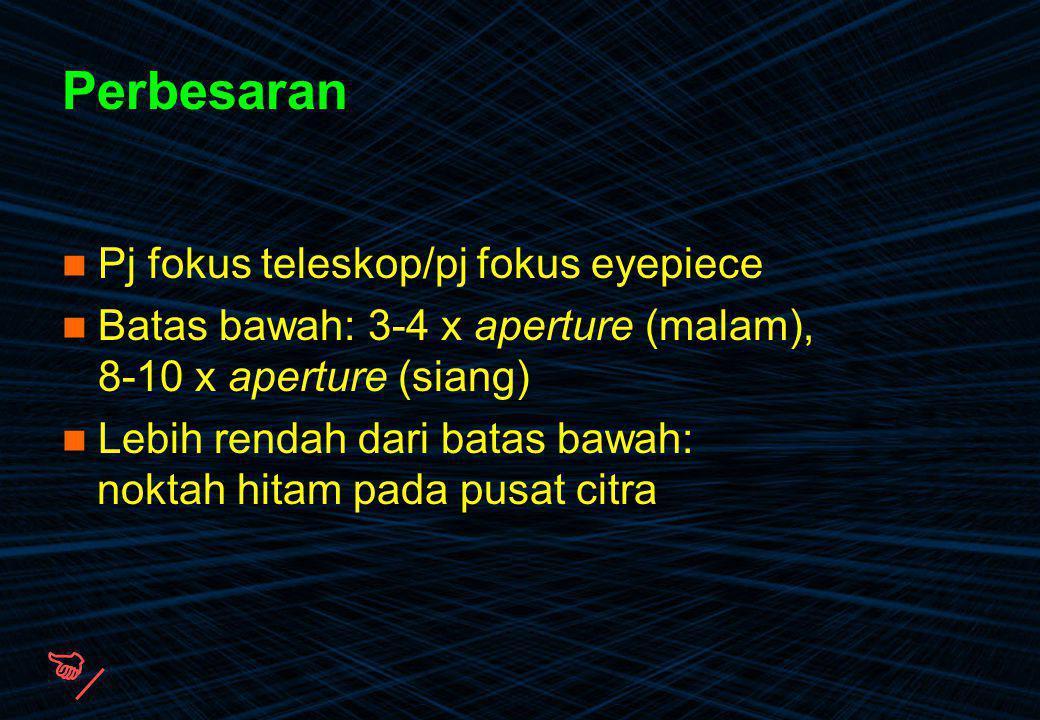  Perbesaran Pj fokus teleskop/pj fokus eyepiece