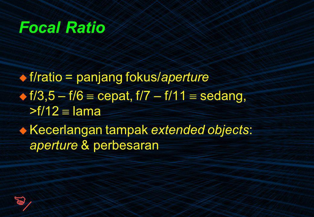  Focal Ratio f/ratio = panjang fokus/aperture