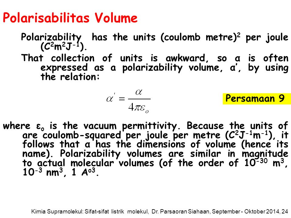 Polarisabilitas Volume