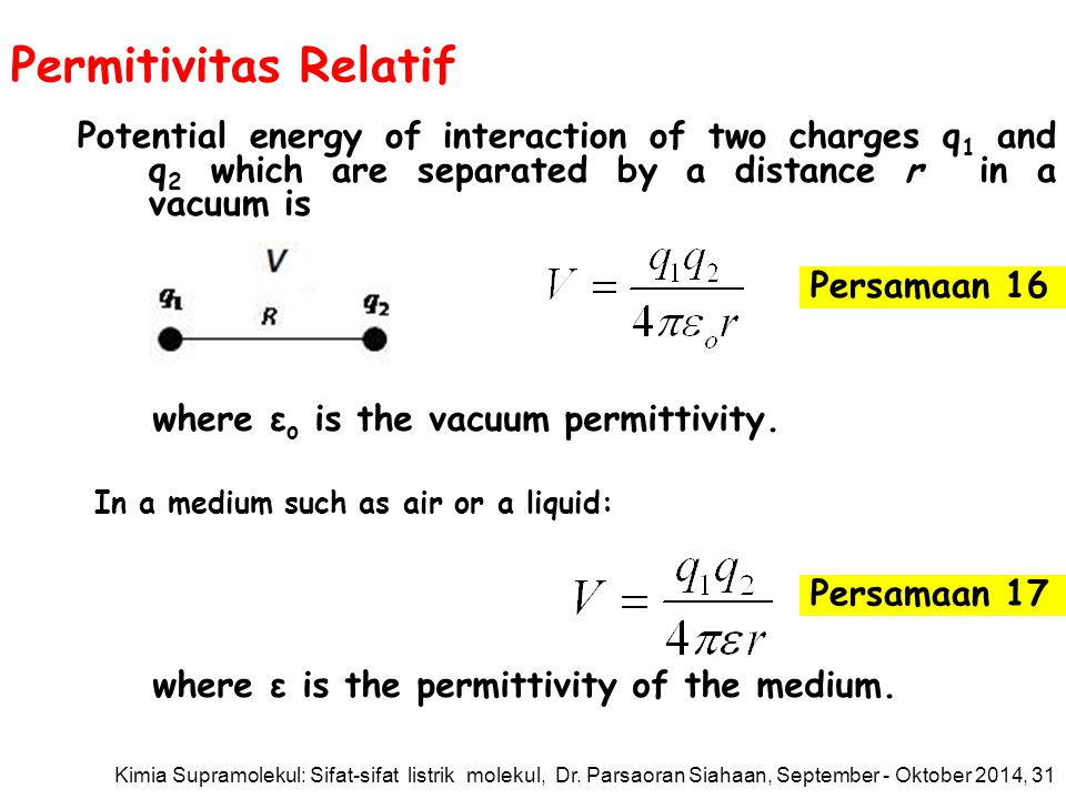 Permitivitas Relatif Potential energy of interaction of two charges q1 and q2 which are separated by a distance r in a vacuum is.