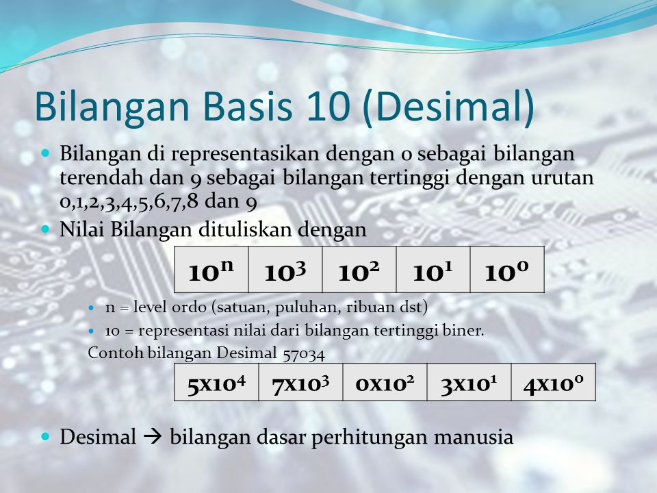 Bilangan Basis 10 (Desimal)