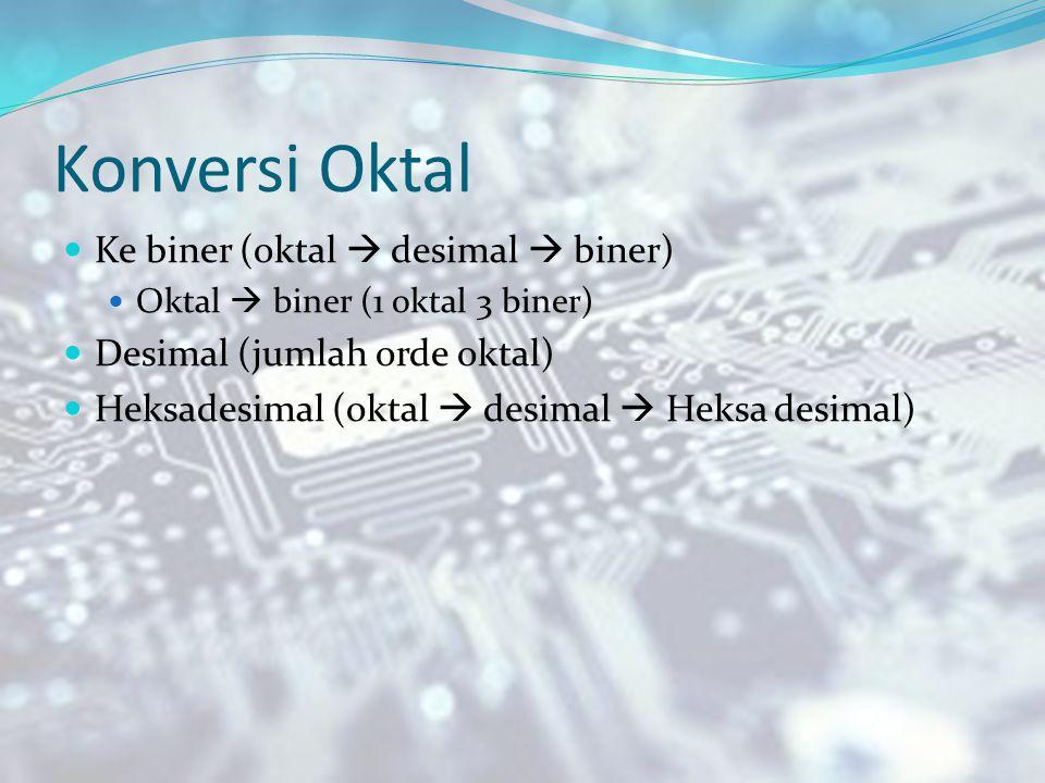 Konversi Oktal Ke biner (oktal  desimal  biner)