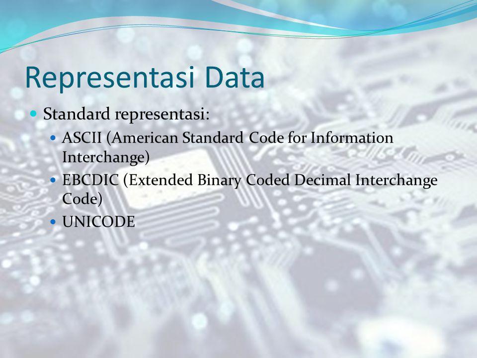 Representasi Data Standard representasi: