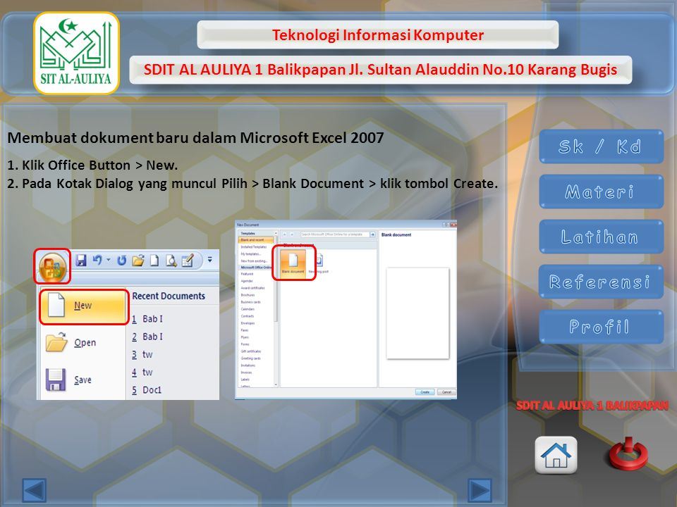Membuat dokument baru dalam Microsoft Excel 2007