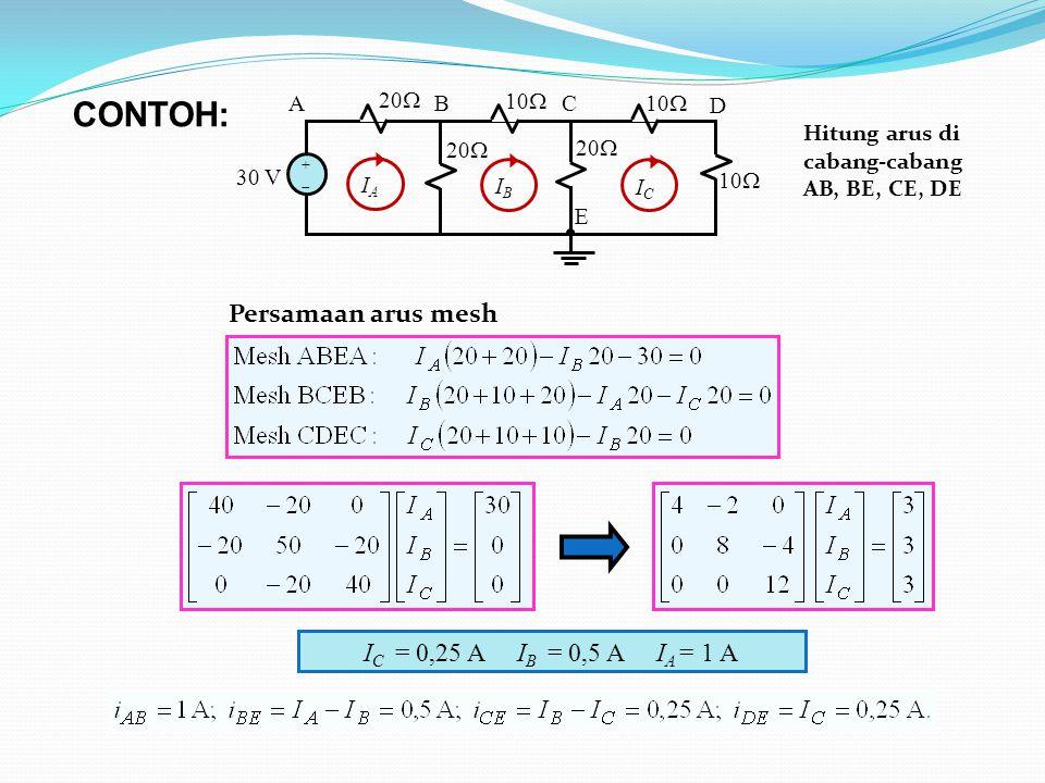 CONTOH: Persamaan arus mesh IC = 0,25 A IB = 0,5 A IA = 1 A 10 30 V