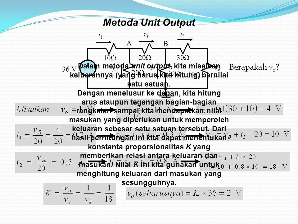 Metoda Unit Output Berapakah vo 10 36 V +  20 30 i1 i3 i5 i2 i4