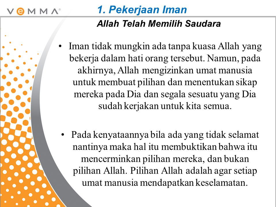 1. Pekerjaan Iman Allah Telah Memilih Saudara
