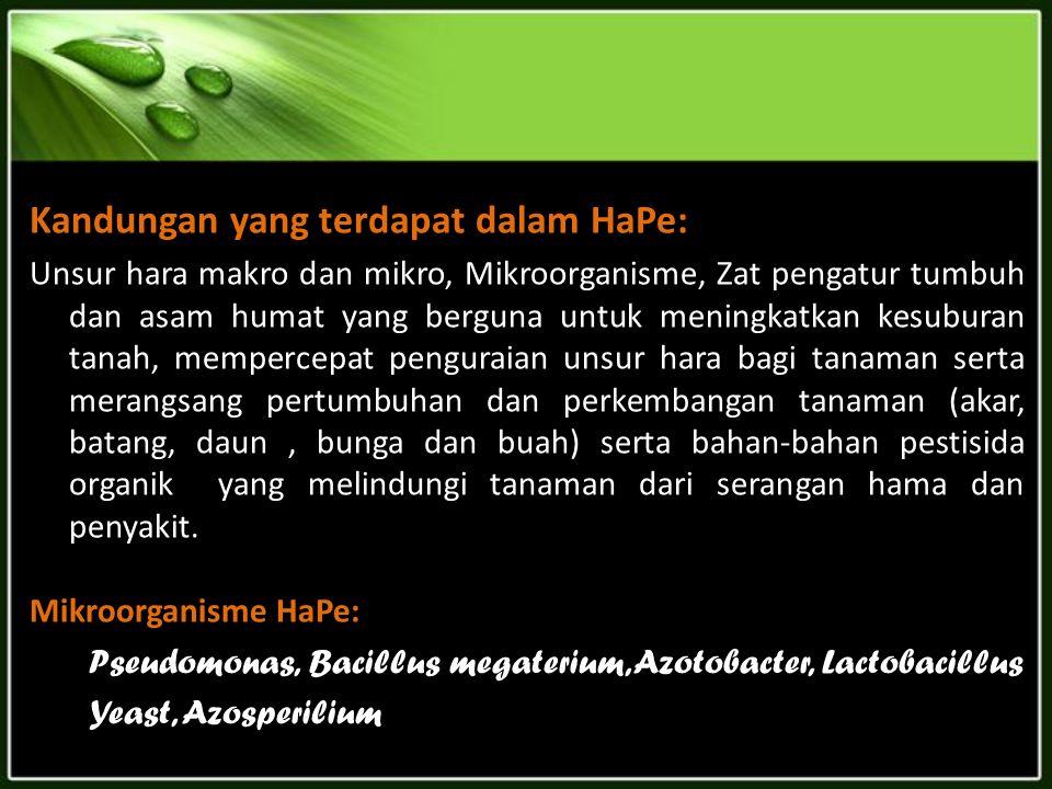 Kandungan yang terdapat dalam HaPe:
