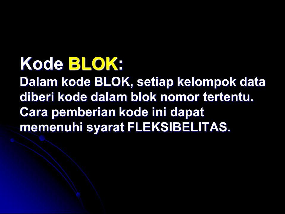 Kode BLOK: Dalam kode BLOK, setiap kelompok data diberi kode dalam blok nomor tertentu.