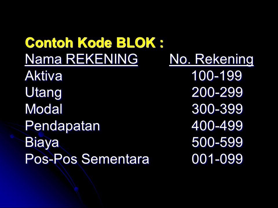 Contoh Kode BLOK : Nama REKENING No. Rekening Aktiva. 100-199 Utang