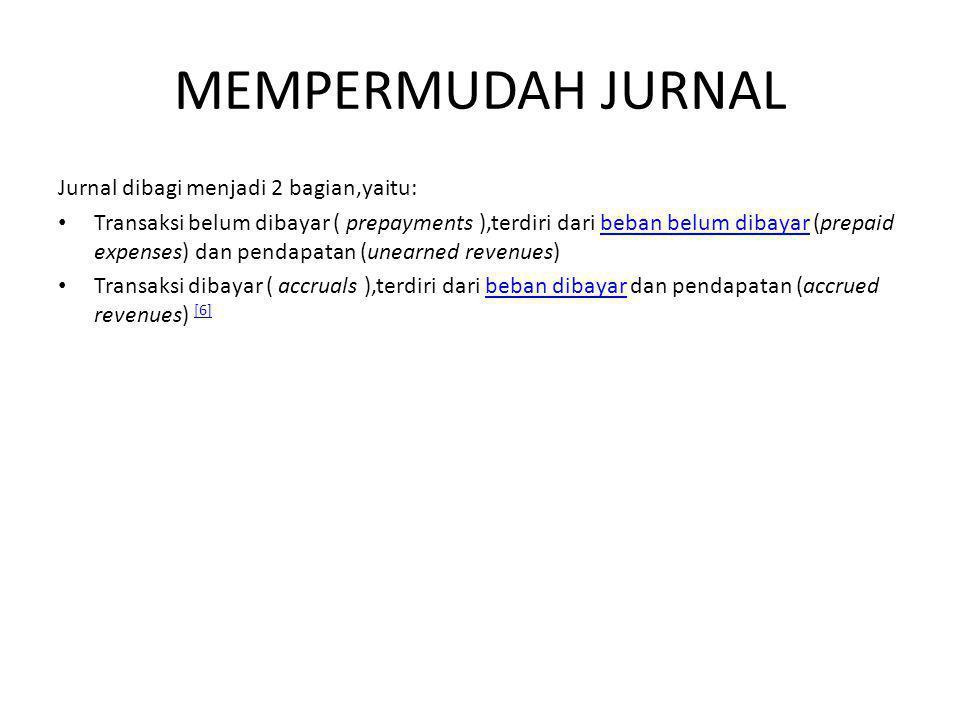MEMPERMUDAH JURNAL Jurnal dibagi menjadi 2 bagian,yaitu: