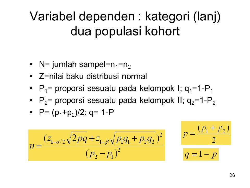 Variabel dependen : kategori (lanj) dua populasi kohort