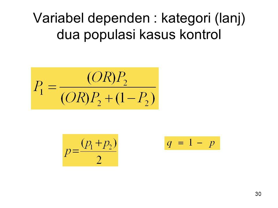 Variabel dependen : kategori (lanj) dua populasi kasus kontrol
