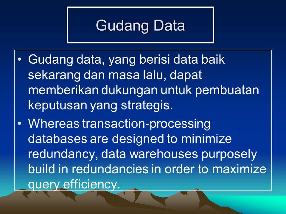 Gudang Data Gudang data, yang berisi data baik sekarang dan masa lalu, dapat memberikan dukungan untuk pembuatan keputusan yang strategis.