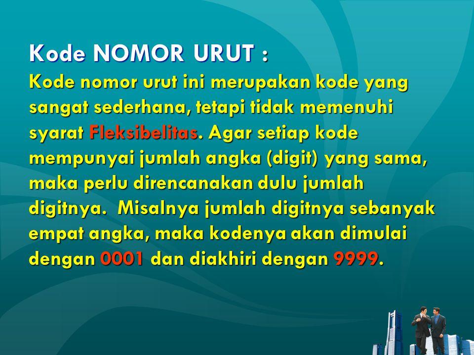 Kode NOMOR URUT : Kode nomor urut ini merupakan kode yang sangat sederhana, tetapi tidak memenuhi syarat Fleksibelitas.