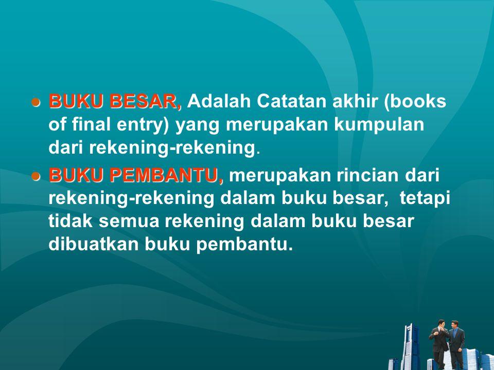 BUKU BESAR, Adalah Catatan akhir (books of final entry) yang merupakan kumpulan dari rekening-rekening.