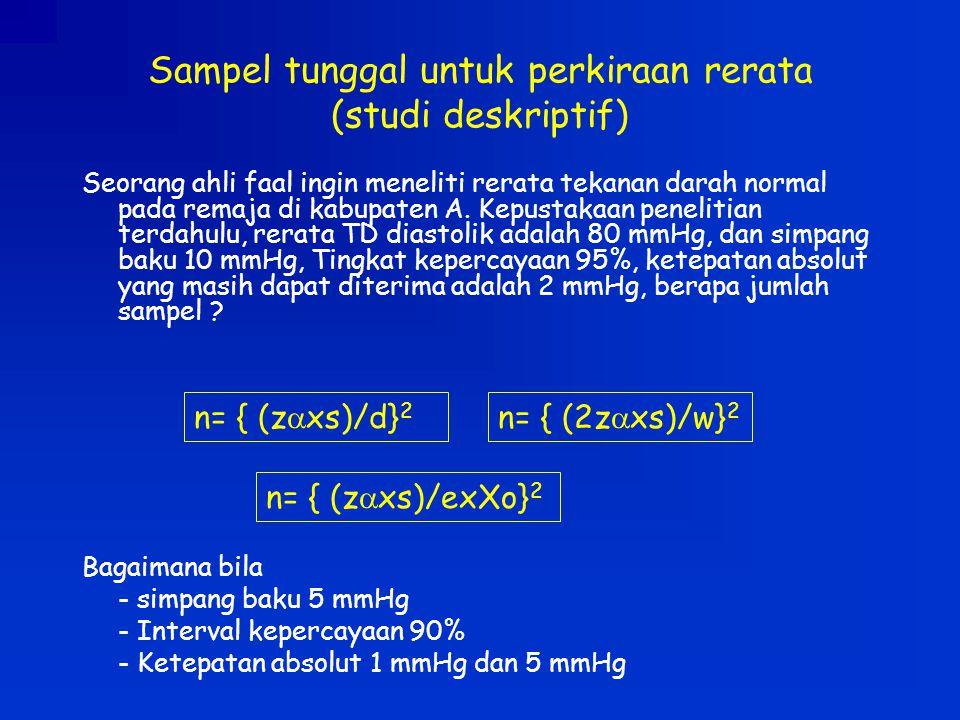 Sampel tunggal untuk perkiraan rerata (studi deskriptif)