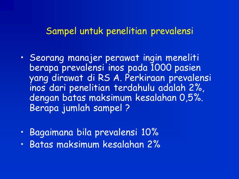 Sampel untuk penelitian prevalensi