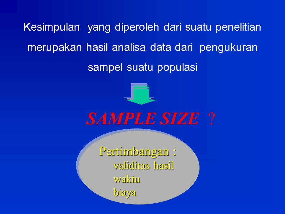 SAMPLE SIZE Pertimbangan :