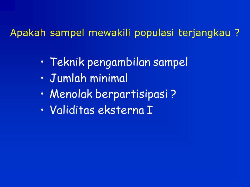 Apakah sampel mewakili populasi terjangkau
