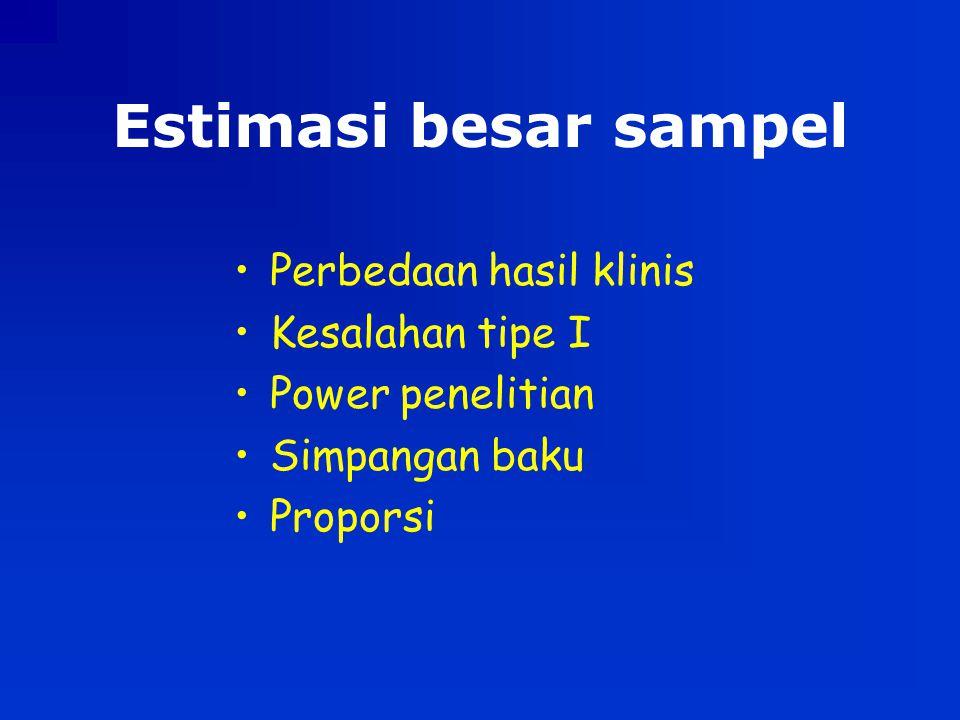 Estimasi besar sampel Perbedaan hasil klinis Kesalahan tipe I