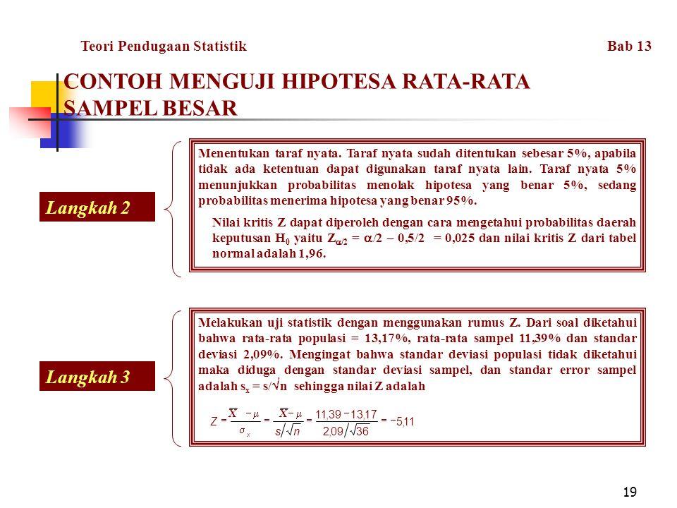 CONTOH MENGUJI HIPOTESA RATA-RATA SAMPEL BESAR