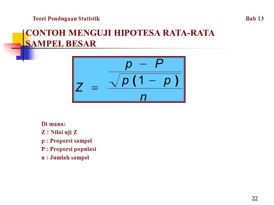 n p P Z ) ( - = 1 CONTOH MENGUJI HIPOTESA RATA-RATA SAMPEL BESAR