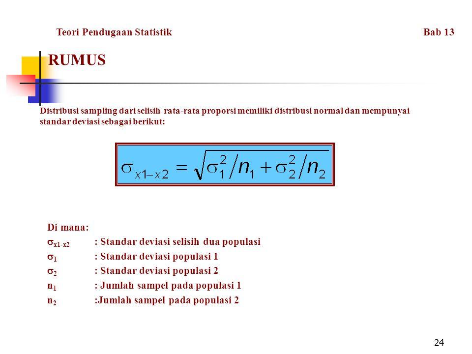 RUMUS Teori Pendugaan Statistik Bab 13 Di mana:
