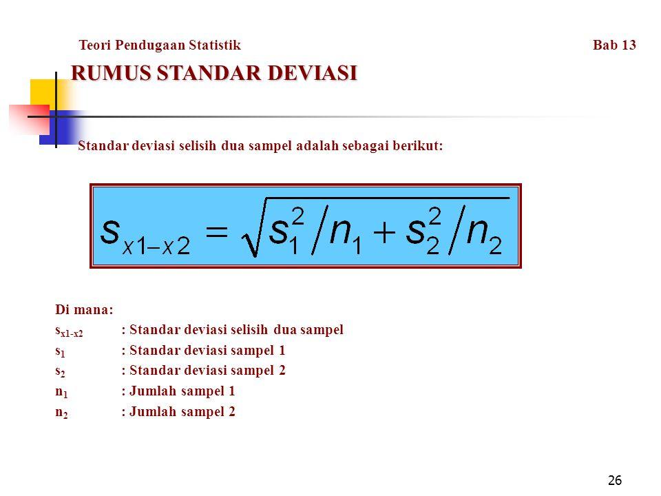 RUMUS STANDAR DEVIASI Teori Pendugaan Statistik Bab 13