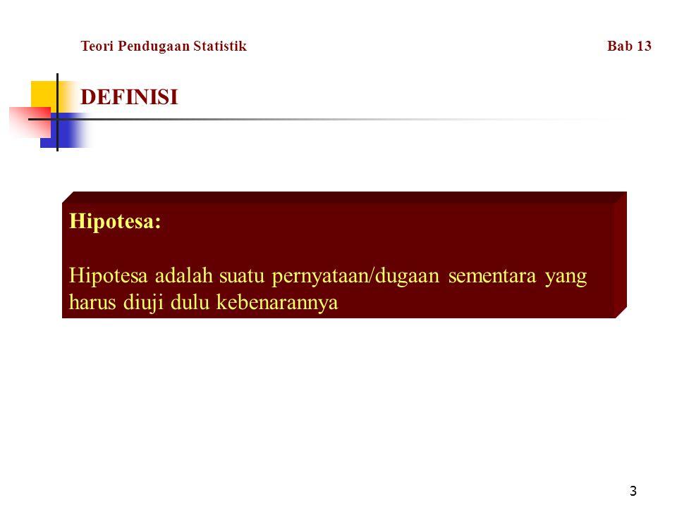 DEFINISI Teori Pendugaan Statistik Bab 13. Hipotesa: