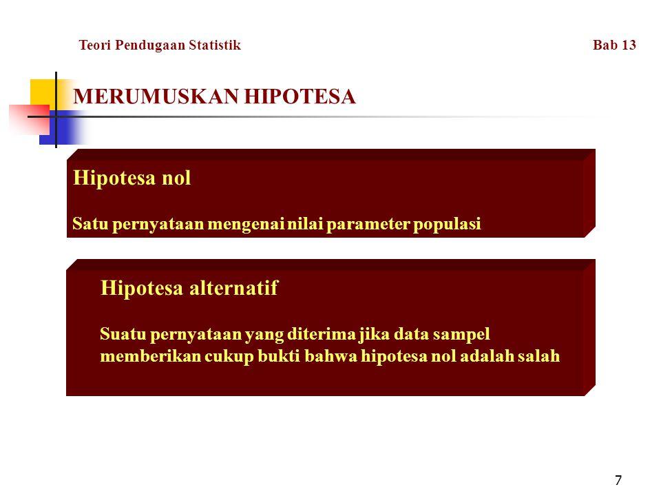 MERUMUSKAN HIPOTESA Hipotesa nol Hipotesa alternatif