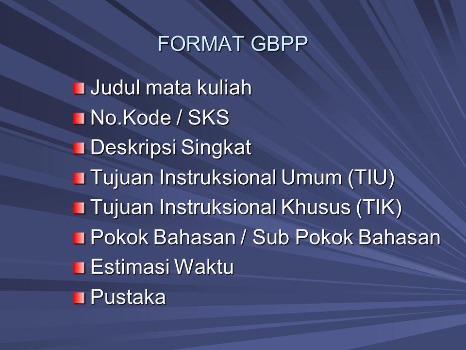 FORMAT GBPP Judul mata kuliah. No.Kode / SKS. Deskripsi Singkat. Tujuan Instruksional Umum (TIU)