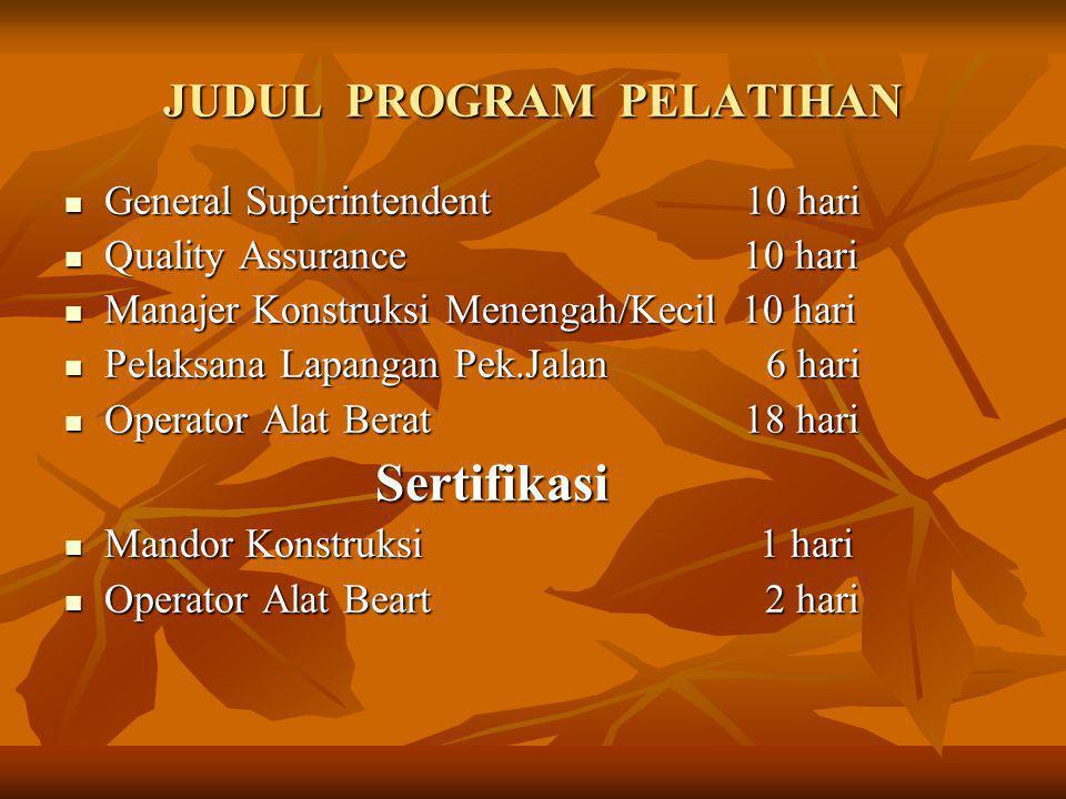 JUDUL PROGRAM PELATIHAN