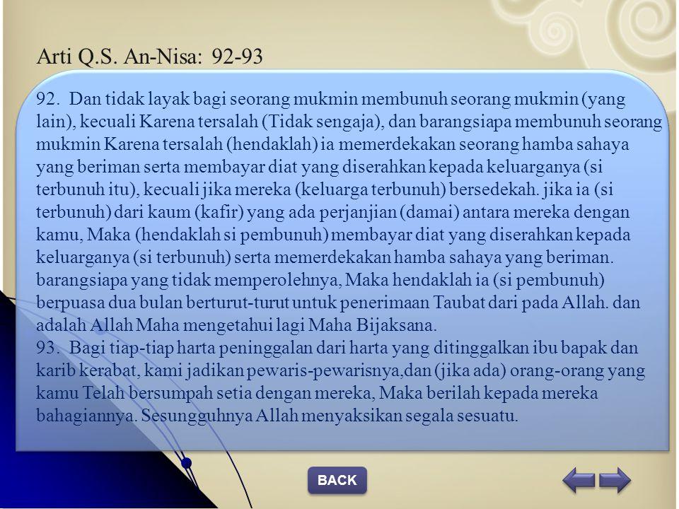 Arti Q.S. An-Nisa: 92-93