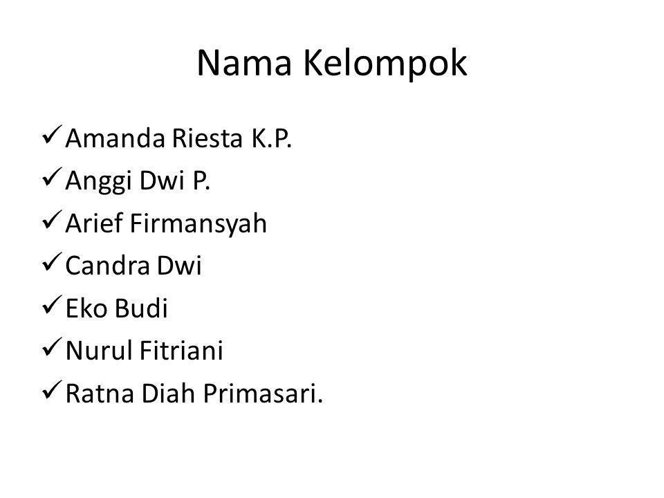 Nama Kelompok Amanda Riesta K.P. Anggi Dwi P. Arief Firmansyah
