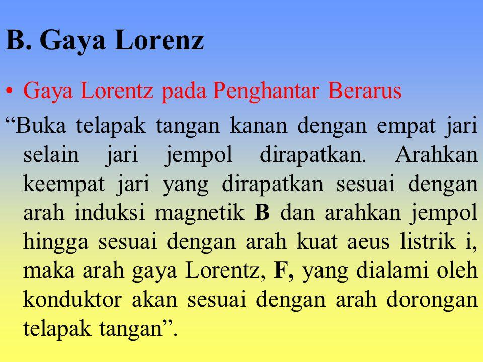 B. Gaya Lorenz Gaya Lorentz pada Penghantar Berarus