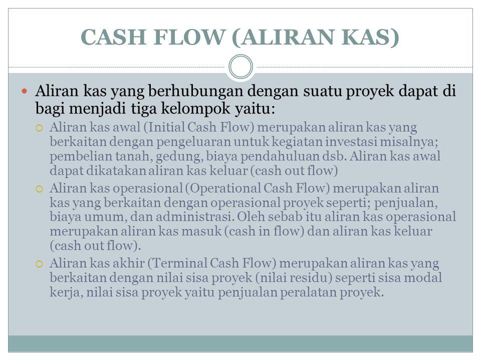 CASH FLOW (ALIRAN KAS) Aliran kas yang berhubungan dengan suatu proyek dapat di bagi menjadi tiga kelompok yaitu: