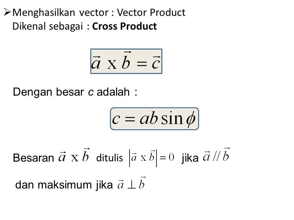 Menghasilkan vector : Vector Product Dikenal sebagai : Cross Product
