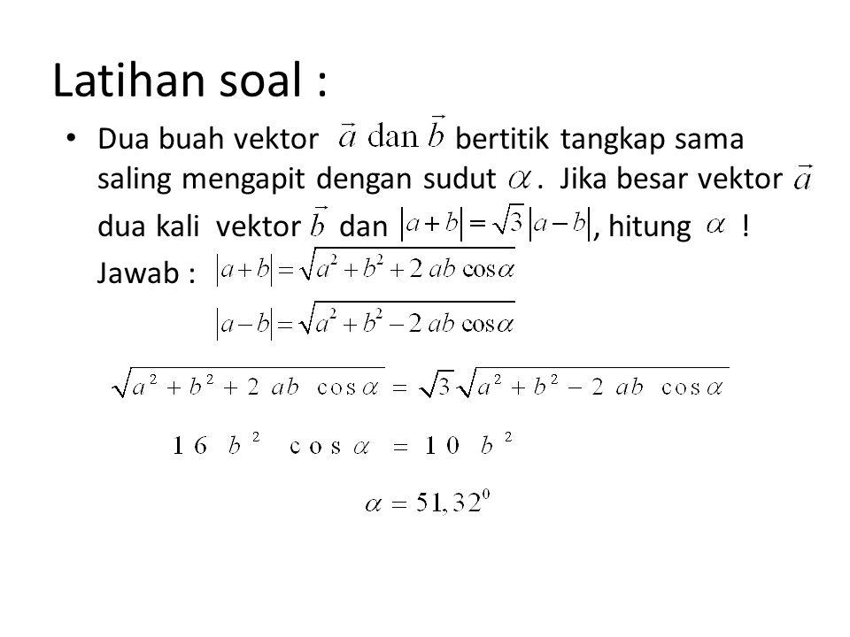 Latihan soal : Dua buah vektor bertitik tangkap sama saling mengapit dengan sudut . Jika besar vektor.