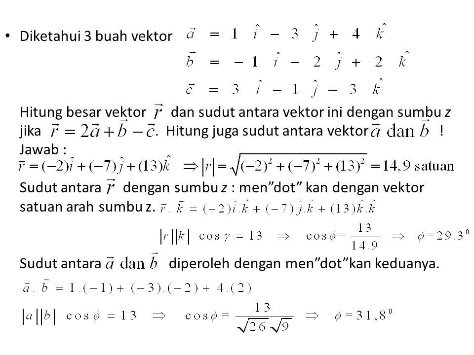 Diketahui 3 buah vektor Hitung besar vektor dan sudut antara vektor ini dengan sumbu z.