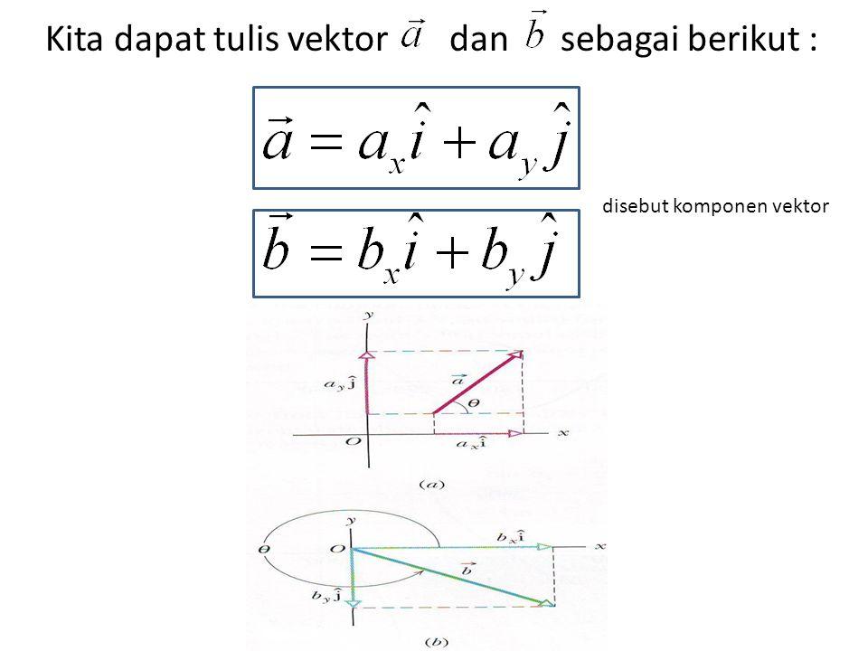 Kita dapat tulis vektor dan sebagai berikut :