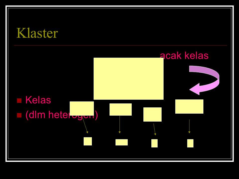 Klaster acak kelas Kelas (dlm heterogen)