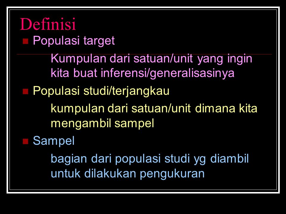 Definisi Populasi target