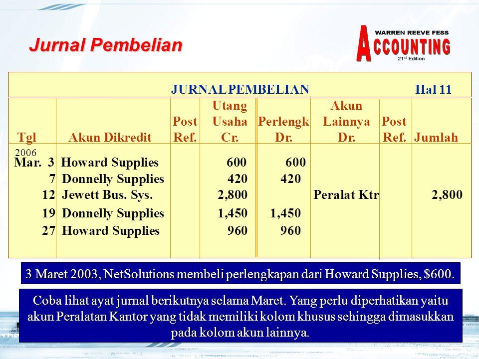 Jurnal Pembelian JURNAL PEMBELIAN Hal 11 Utang Akun